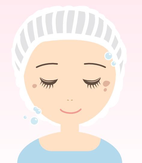 治療の流れ1:洗顔をします